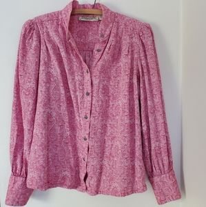 Amazing pink paisley boho button front blouse